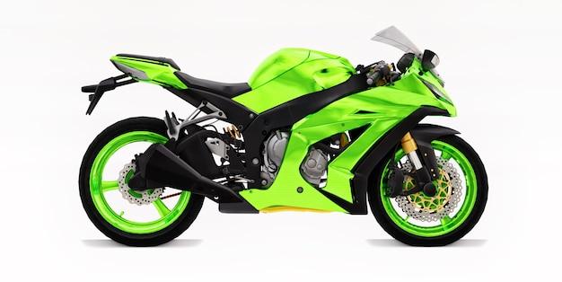 3d grünes supersportmotorrad auf weißem lokalisiertem hintergrund. 3d-darstellung.