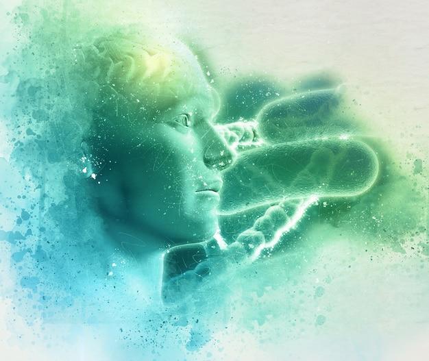 3d-grunge-dna medizinischen hintergrund mit männlichen figur mit gehirn und viruszellen