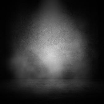 3d-grunge-innenraum mit rauch im scheinwerferlicht