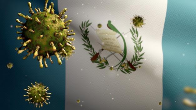 3d, guatemaltekische flagge weht mit coronavirus-ausbruch, der die atemwege als gefährliche grippe infiziert. influenza-virus vom typ covid 19 mit nationalem guatemala-banner, das im hintergrund weht.