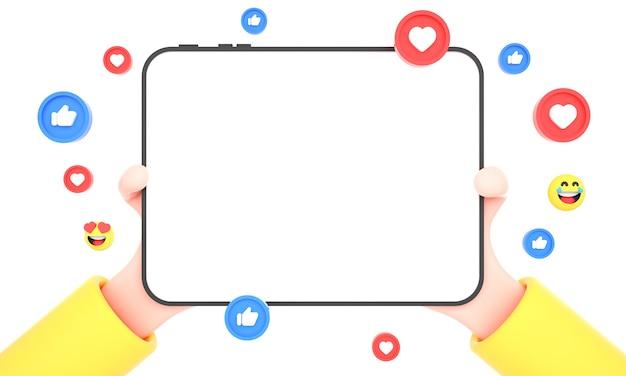 3d-hände, die tablet isoliert mit social-media-symbolen für mehrzwecknutzung und tablet-mock-up halten