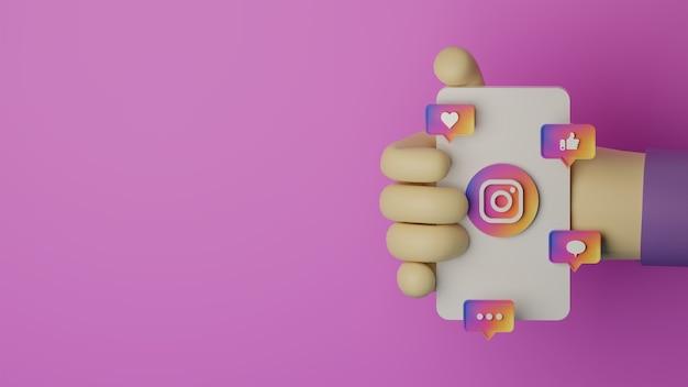 3d-hand, die handy mit instagram-logo hält, gerenderten hintergrund für marketingkonzept