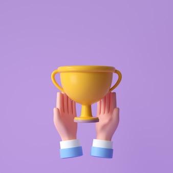 3d hand halten gelben trophäenbecher. feier, gewinner, champion und belohnungskonzept. 3d-render-darstellung