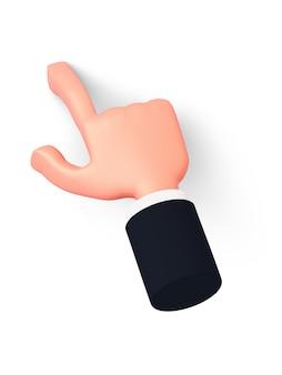 3d-hand mit ärmel zeigt einen finger leicht nach links oder klickt auf etwas und wirft einen schatten