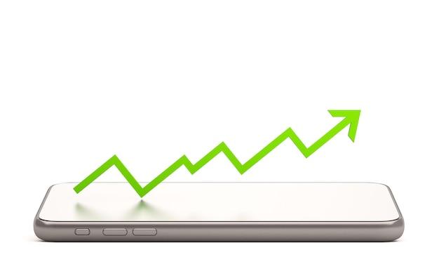 3d-handy mit pfeil des online-börsenhandels mit, 3d-render-illustrationshintergrund