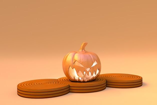 3d happy halloween banner hintergrund und podium plattform vorlagehalloween kürbisse