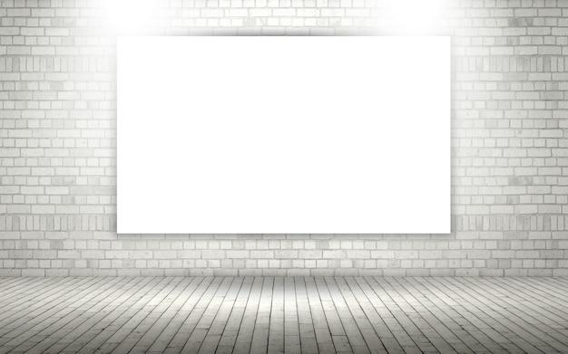 3d herausgestellte backsteinmauer mit leerem segeltuch- oder fotorahmen