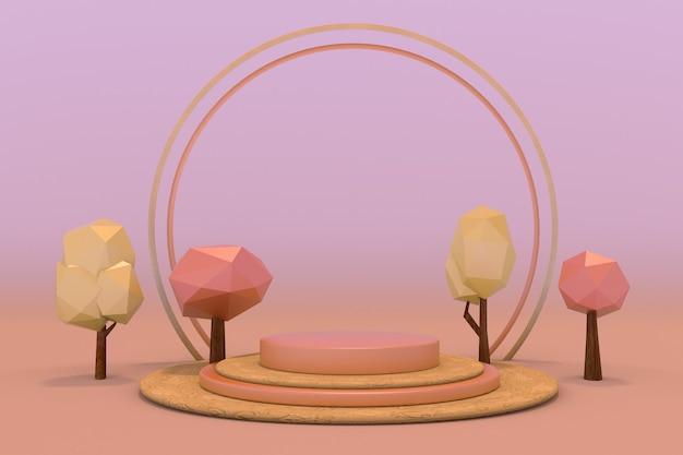 3d-herbstszene geometrische komposition leeres podium und rote low-poly-bäume für die produktpräsentation