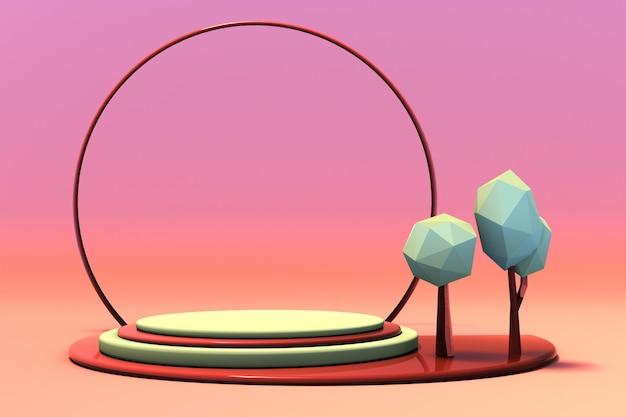 3d-herbstszene mit leerem podium der geometrischen zusammensetzung und niedrigen polygrünbäumen für produktpräsentation, abstrakter pastellhintergrund. modellform in herbstfarben. minimales design