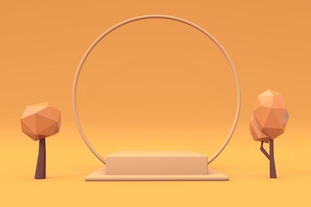 3d-herbstszenen-schönheitspodium mit leerem zylinderständer für werbeartikelanzeige orange gelb Premium Fotos