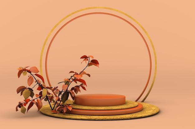 3d-herbstszenenpodium mit leerem zylinderständer für die orange trockene pflanze der werbeproduktanzeige