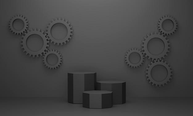3d. hexagon-podium und die cog wall in schwarztönen sorgt für luxus. für ausgestellte produkte