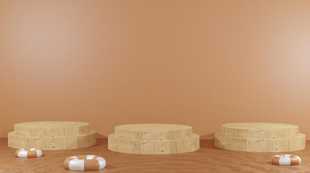 3d-hintergrund, der drei hölzerne podiums in der mitte von geschmolzener schokolade und schwimmendem rad für präsentationsprodukte schokoladentag-hintergrund rendert
