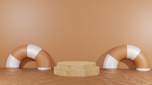 3d-hintergrund, der hölzernes podium inmitten geschmolzener schokolade und schwimmendem rad für präsentationsprodukte schokoladentag-hintergrund rendert