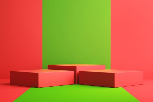 3d-hintergrund für mock-up-podium für produktpräsentation, roter und grüner hintergrund, 3d-rendering