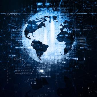 3d-hintergrund mit globus und programmcode