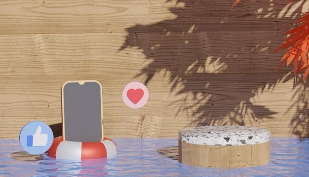 3d-hintergrund mit marmorpodium und smartphone auf schwimmreifen cyber monday