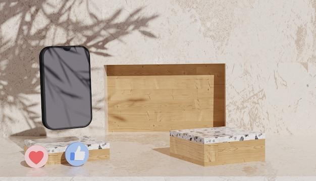 3d-hintergrund mit marmorpodiumansicht und schwarzem smartphone-cyber-montag