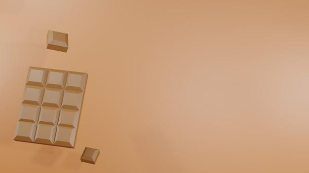 3d-hintergrund-rendering-schokoriegel auf braunem hintergrund