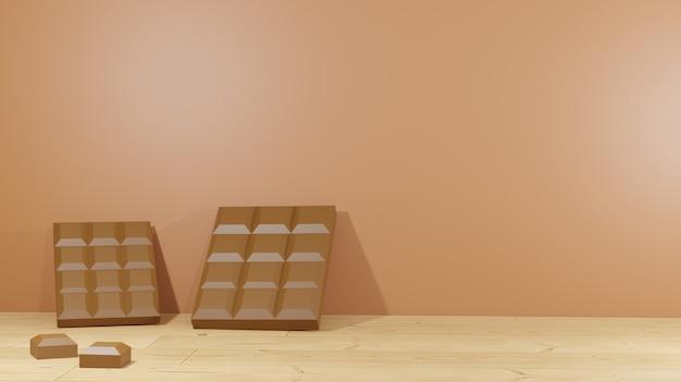 3d-hintergrund-rendering-schokoriegel auf holzboden für präsentationsprodukt schokoladentag hintergrund liegend day