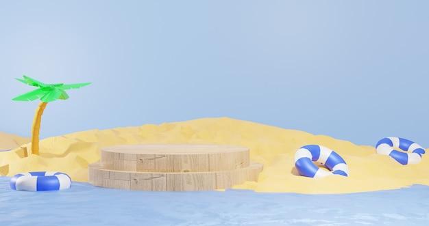 3d-hintergrund-renderings holzpodest mitten in wasser und strandsand für präsentationsprodukte sommerurlaub thema für webseiten-hintergründe