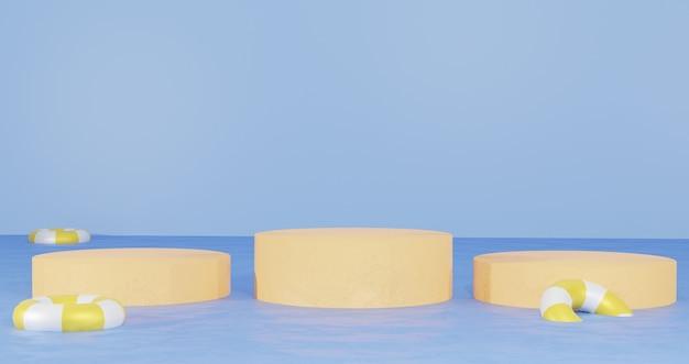 3d-hintergrund-renderings sandpodium mitten im strandwasser für präsentationsprodukte sommerurlaub thema für webseiten-hintergründe