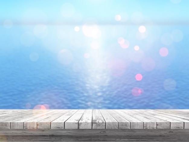 3d holztisch, der heraus zu einem blauen ozean schaut