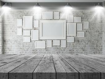 3D Holztisch, der heraus zu einer Wand von leeren Bilderrahmen schaut