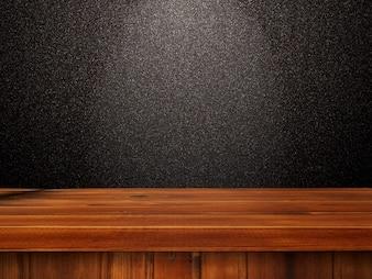 3D Holztisch gegen eine schwarze glittery Wand