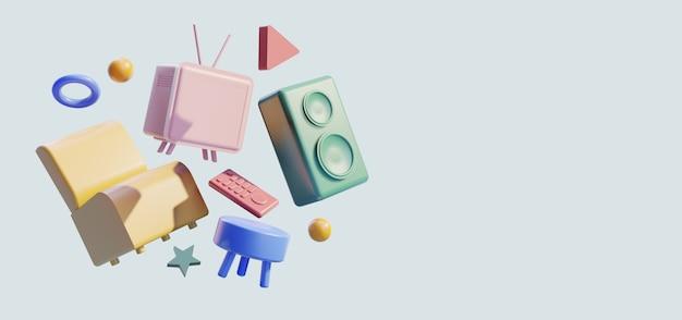 3d-home-entertainment-szene, stuhl mit fernseher und lautsprecher