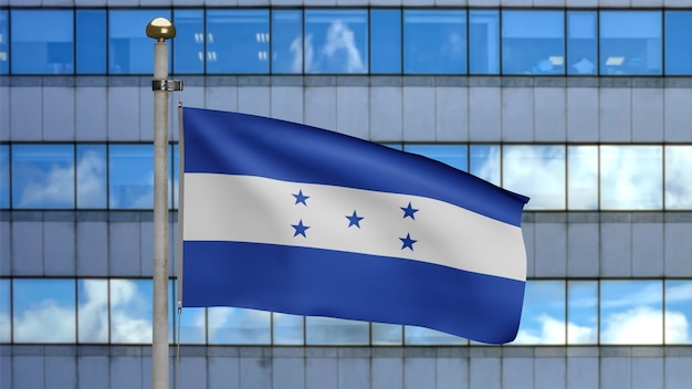 3d, honduranische flagge weht im wind mit moderner wolkenkratzerstadt. nahaufnahme von honduras banner weht, weiche und glatte seide. stoff textur fähnrich hintergrund.