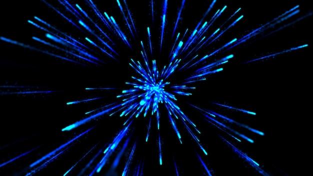 3d hyper sprung in eine andere galaxie. schleifen von abstrakten animationslinien.