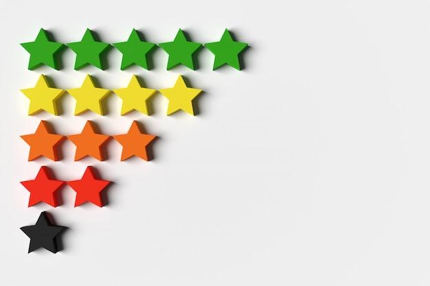 3d illustration 5 mehrfarbige sterne stehen in reihen und nehmen allmählich ab.
