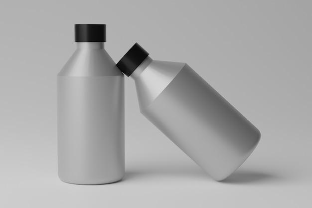 3d illustration blank bottles mockup auf grauem hintergrund