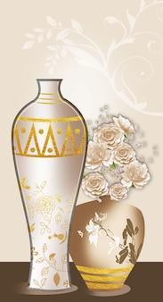 3d-illustration braune und weiße vase mit goldenen weißen blumen im dunklen hintergrund