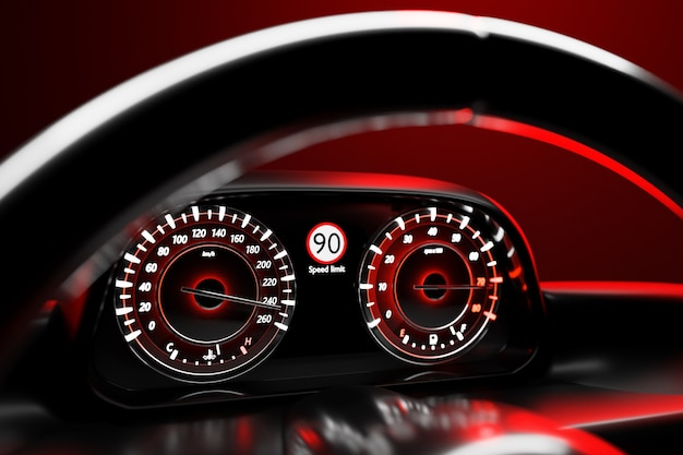 3d-illustration der details des neuen fahrzeuginnenraums