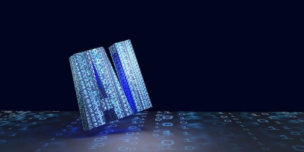 3d-illustration der digitalen computertechnologie des hintergrundbildnetzwerks der künstlichen intelligenz der ki