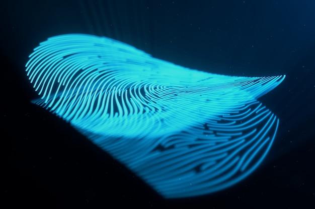 3d-illustration der fingerabdruckscan bietet sicherheitszugriff mit biometrischer identifizierung. konzept fingerabdruckschutz. gebogener fingerabdruck. konzept der digitalen sicherheit