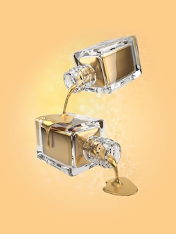 3d illustration der goldkosmetikflasche mit tropfen
