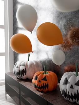 3d-illustration der halloween-dekoration des wohnzimmers. kürbisse und luftballons. 3d-rendering