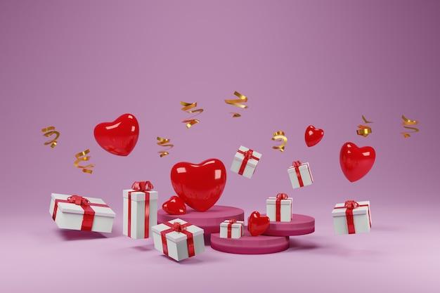 3d-illustration der herzen und geschenke des muttertags und des valentinstags