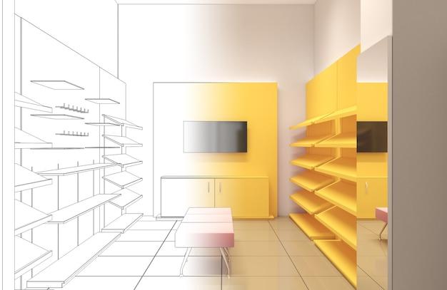3d-illustration der innenarchitektur des einkaufszentrums