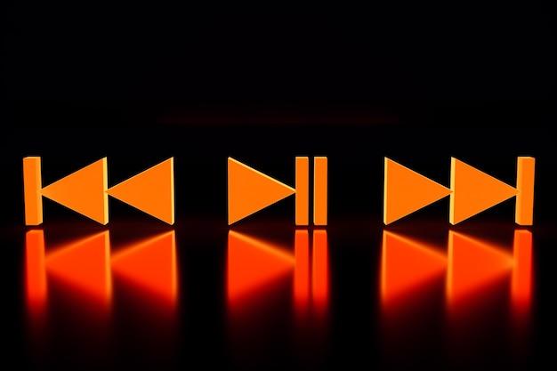 3d-illustration der musikschaltertaste: start, nächstes und vorheriges lied auf schwarzem isoliertem hintergrund