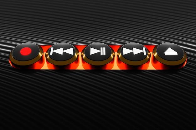 3d-illustration der musikschaltertaste: start, nächstes und vorheriges lied, stopp und aufnahme auf schwarzem isoliertem hintergrund