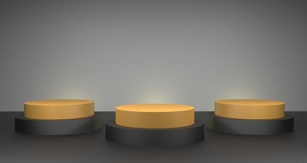 3d-illustration der produktanzeige des gold- und des dunklen podiums. luxus beauty & fashion konzept