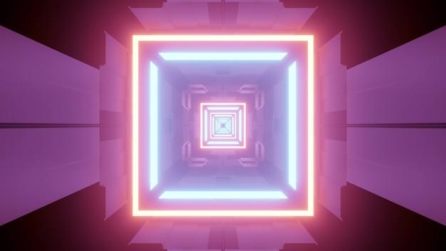 3d-illustration der quadratischen tunnelperspektive mit der bunten futuristischen neonbeleuchtung