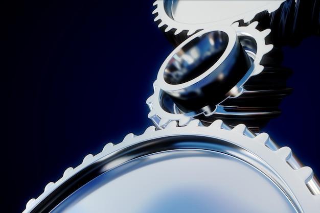 3d illustration der zahnradmetallräder nahaufnahme