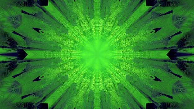 3d-illustration der zusammenfassung des kaleidoskopischen lebendigen tunnels, der mit grünem licht beleuchtet wird