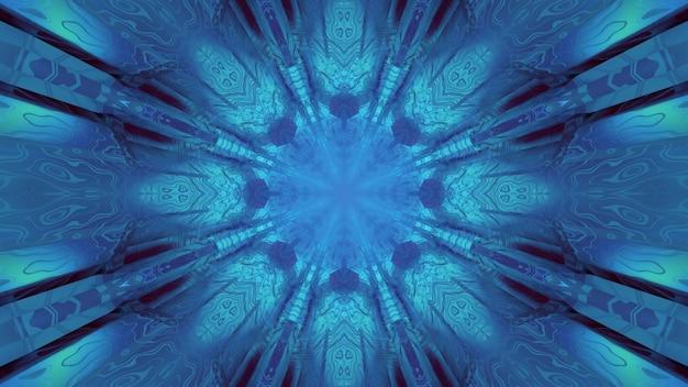 3d-illustration der zusammenfassung des kaleidoskopischen tunnels mit den zierformen, die mit blauer illimitation glühen