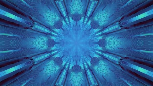 3d-illustration der zusammenfassung des strukturierten tunnels mit kaleidoskopischen verzierungen, die mit blauem licht glühen